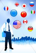 Businessman Traveler with Skyline and Internet Flag Buttons Stock Illustration