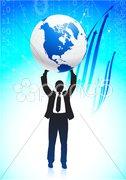 Business man holding globe on vibrant background Stock Illustration