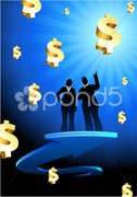 Business Couple on  internet flag buttons background Stock Illustration