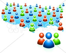 User Group with United States Map - stock photo