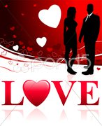 Young Couple on Abstract Love Background Stock Illustration