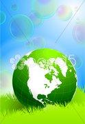 Globe on  Soap Bubbles background Stock Illustration