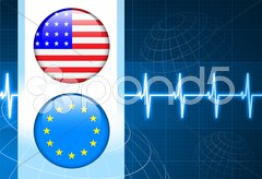 America and European Union Flag Internet Buttons on pulse Backgr Piirros