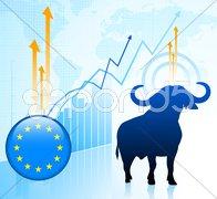 Bull Market with European Union Button Stock Illustration