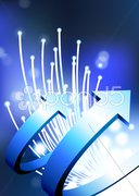Arrows on fiber optic background Stock Illustration