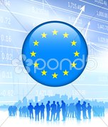 Business Team with European Union Flag Internet Button Stock Illustration