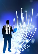 Business communication fiber Optic cable internet background Stock Illustration