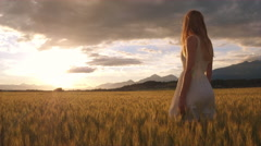 Slow motion - Beauty girl with long hair standing in the yellow wheat field Stock Footage