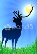 Deer on Nature Background Stock Illustration
