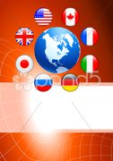 Globe with Internet Flag Buttons Background - stock photo