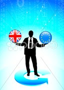 Businessman Holding British and european union Internet Flag But Stock Illustration