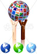Unity Figures with Globe Stock Illustration