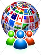 User Group with Flags Globe - stock photo
