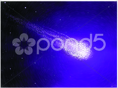 Asteroid in the starry sky galaxy background Stock Illustration