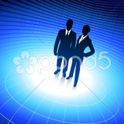 Business team silhouettes on corporate background with binary co Stock Illustration