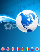 Globe with Internet Flag Buttons Background Stock Photos