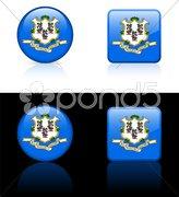 Connecticut Icon on Internet Button Stock Photos