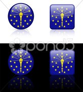 Indiana Flag Icon on Internet Button Stock Photos
