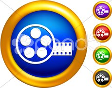 Video film canister icon on  buttons with golden borders Stock Photos