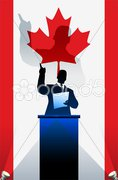 Canada flag with political speaker behind a podium - stock photo