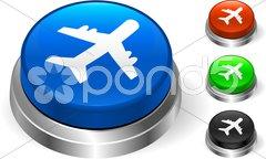 Airplane Icon on Internet Button Stock Photos