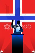 Norway flag with political speaker behind a podium - stock photo