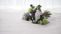 Wedding Bouquet Beautiful on white bed Stock Footage