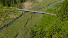Aerial: Amazing Blue Stream under a Wooden Bridge Stock Footage