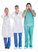 3 doctors Don't see, don't speak and don't hear anything Stock Photos