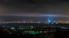 San Diego, California at Night Wide Timelapse Stock Footage