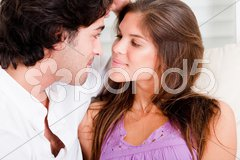 Close up of romantic young couple in passion look Stock Photos