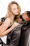 Young business man enjoying with a sexy lady Stock Photos