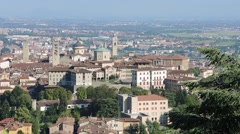 Bergamo - Old city, downtown. Lombardy, Italy. Landscape from San Vigilio hill Stock Footage
