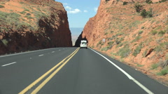 4K UHD driving down AZ Rt 89 thru slot crevice to valley time lapse Stock Footage
