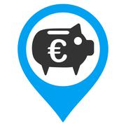 Euro Bank Pointer Flat Vector Icon Stock Illustration