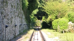 Bergamo - Old city. The funicular from the old city to San Vigilio hill Stock Footage