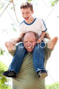 Grandpa enjoying himself Stock Photos