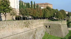 Bergamo - Old city (Città Alta). The venetian and ancient walls. Stock Footage