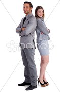 Young business collegues standing back to back Stock Photos