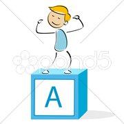 vector illustration of school boy - stock photo