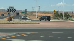 Driving thru a roundabout in Page Arizona Stock Footage