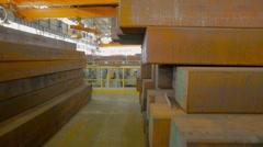 Warehouse of steel blocks Stock Footage