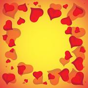 Abstract vector love background full of hearts. Valentines day frame for card Stock Illustration