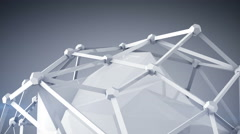 Glossy white polygon shape 3D render loop 4k UHD (3840x2160) Stock Footage