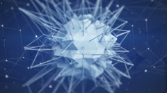 Macro shot of polygonal core shape. Abstract 3d render animation loop Stock Footage