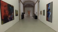 Palacio Ajuda art gallery with paints Stock Footage