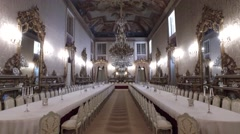Royal Banquet Hall for ceremonies - Ajuda Palace, Lisboa Portugal Stock Footage