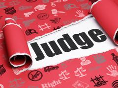 Law concept: black text Judge under the piece of  torn paper Stock Illustration