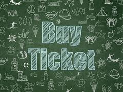 Tourism concept: Buy Ticket on School board background Stock Illustration