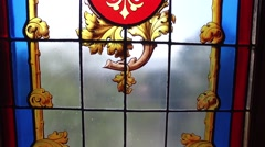 Stained glass in royal winter garden room - Ajuda Palace, Portugal Stock Footage